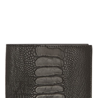 Givenchy Grey Ostrich Leather Classic Bifold Wallet