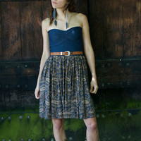 Navy and Brown Paisley Strapless Dress