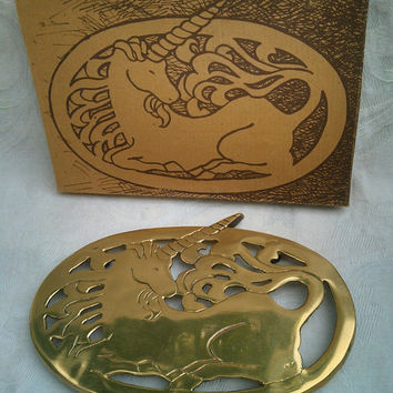 Unicorn Brass Trivet, Footed, NOS, Original Box, Mystical Animal Hot Pad, Vintage Kitchen Decor, Retro Dining Table Service