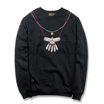 Round-neck Long Sleeve Hoodies Winter Embroidery Pendant [211450036236]