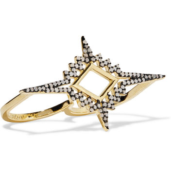 Noir Jewelry Gold-plated opal two-finger ring – 45% at THE OUTNET.COM