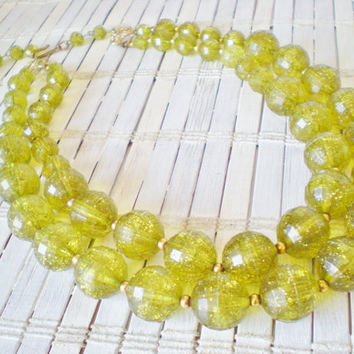 Vtg Olive Green Beaded Double Strand Necklace / 1960s
