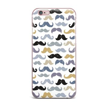 """Daisy Beatrice """"MUSTACHES - SLATE BLUE-GOLD"""" Blue Tan Pattern Modern Vector Illustration iPhone Case"""