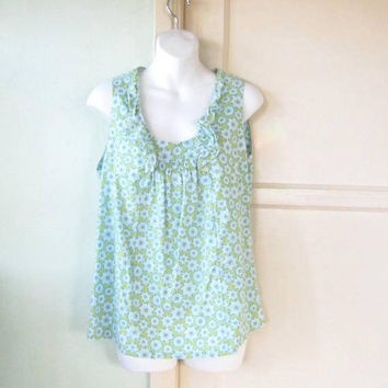 Blue/White/Chartreuse Smock Top; Women's Medium Vintage Cotton Floral Sleeveless Blouse; Ruffled Deep Scoopneck; U.S. Shipping Included