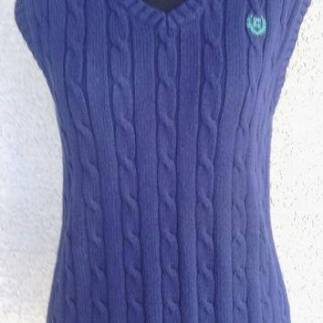 Ralph Lauren Vest - Women's Chap's sweater vest - blue - large - 100% cotton - dark bl