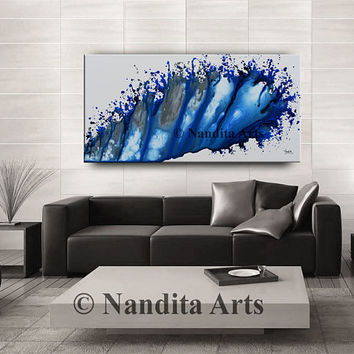 ABSTRACT PAINTING Modern Blue Original Contemporary Huge Home Decor Artwork Wedding Gift Decorative Art Surreal Painting by Nandita Albright