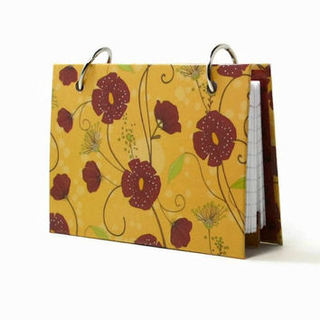 3 x 5 index card binder, poppies on gold, recipe binder, daily notes, index card holder with a set of index card dividers