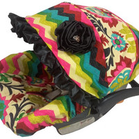 NEW Hot Pink Fancy Floral, Stunning Infant Car Seat Cover, Baby Car Seat Cover with Matching Neck Strap Set