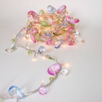 String lights-Bohemia style String with Jewels-Colorful Jewels LED Fairy Lights,Mains Powered-5M 50 LED String Lights.