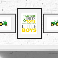 Tractor Nursery, Boys Room Decor, Boys Nursery Art, Tractor Birthday, Tractor Playroom Decor, Tractor Bedroom Decor, Set of 3 Prints