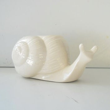Ceramic Snail Planter Vase in White Sponge holder Perfect Garden lover gift Entomologist Gift Windowsill Planter