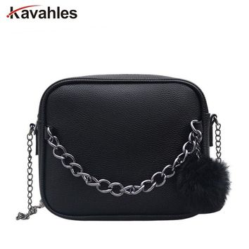 Designer Chain Women Bag Women Leather Handbag Women Messenger Bags PU Shoulder Crossbody Bag with Plush Ball Toy Bolsa PP-1102