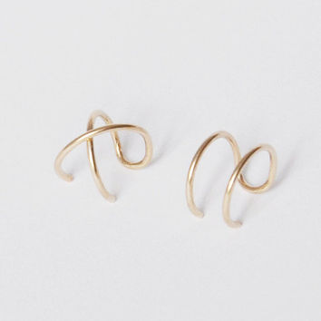 Set of 2 Ear Cuffs, Ear Cuff, Double Ear Cuff and Criss Cross Ear Cuff,No Piercing,Cartilage Ear Cuff,Simple Ear Cuff,Fake Cartilage Earring
