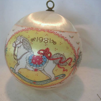 1981 Hallmark Keepsake Ornament Granddaughter with Rocking Horse