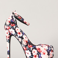 Qupid Ravish-02 Floral Ankle Strap Almond Toe Stiletto Pump