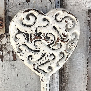 Shabby Chic Iron Heart  Wall Hook  Distressed by CamillaCotton