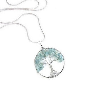Aquamarine Tree of Life Pendant ,  Silver  Wire  Wrapped , Genuine  Aquamarine Gemstones ,  Sterling Silver Aquamarine Necklace