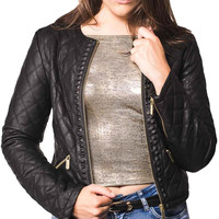 Elise Collarless Quilted Faux Leather Biker Jacket in Black