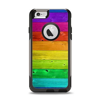 The Rainbow Highlighted Wooden Planks Apple iPhone 6 Otterbox Commuter Case Skin Set