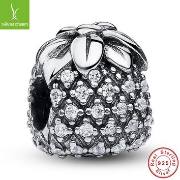 100% 925 Sterling Silver Sparkling Pineapple Charm Beads Fit Original Pandora Bracelet Pendant Authentic Jewelry ALX-SCJS ALX-SCJS