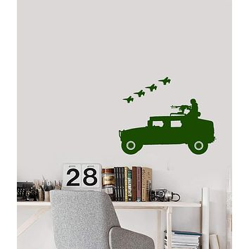 Vinyl Wall Decal American Military Soldier With Machine Gun Fighter Aircraft Stickers (2875ig)