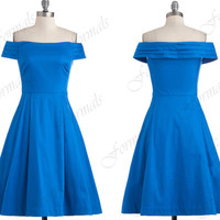 Off The Shoulder Knee Length Blue Satin Bridesmaid Dresses, Short Prom Dresses, Cocktail Dresses, Wedding Party Dresses