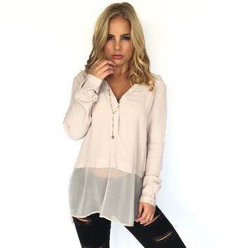 Sheer Heights Blouse In Ecru