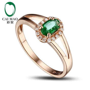 caimao 0.4 ct natural emerald 18kt/750 rose gold 0.08 ct full cut diamond engagement ring  gemstone colombian