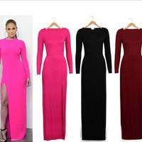 2014 Ebay Hot new European and American big stars sexy package hip legs split a long paragraph long sleeved dress Evening-in Dresses from Women's Clothing & Accessories on Aliexpress.com | Alibaba Group
