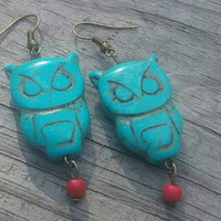 Owl earrings, Turquoise owl earrings, boho owl jewelry, turquoise stone owl, gift for her, gift for teen, stocking stuffer