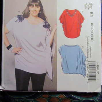 SALE Uncut McCall's Sewing Pattern, 6204! 8-16 Small/Medium/Large Loose Fitting Flare Shirts/Tunics, Extended Shoulders/Summer/Spring/Casual