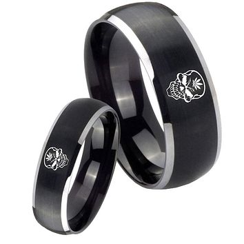 His Her Matte Dome Skull Marijuana Leaf Two Tone Tungsten Carbide Wedding Rings Set