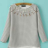 Black and White Stripe Jewelled Sweatshirt