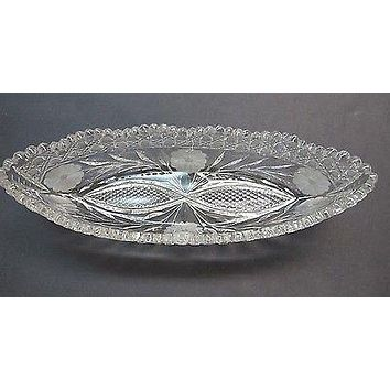 American Brilliant Period hand Cut Glass canoe dish abp antique