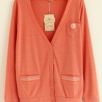 V-Neck  Pink long sleeve embroidery cardigan  Embroidery Pop  style zz92701903 in  Indressme
