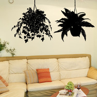 Vinyl Wall Decal Sticker Pair Of Hanging Plants #5428