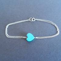 two layered turquoise blue love sterling silver bracelet