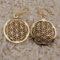 Flower Of Life Earrings - Brass Earrings - Energy Jewelry - Brass Jewelry - Tribal Jewelry - Geometric Jewelry - Decorated Jewelry