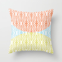 THREE TONE GRAPHICAL LEAF - A GENTILE SUMMER COCKTAIL Throw Pillow by RunnyCustard Illustration