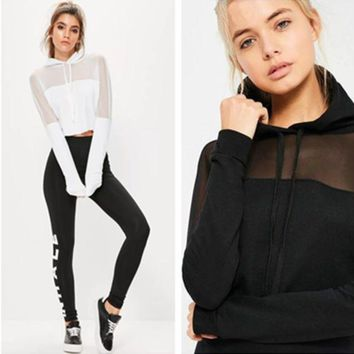 DCCK6HW Fashion Casual Perspective Gauze Stitching Hooded Sweater Long Sleeve Short Tops Sweatshirt