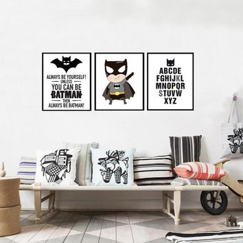 Batman Logo Super Hero Canvas Painting ABC Alphabet Nursery Wall Art Posters Prints Pictures for Kids Room Home Decor No Frame