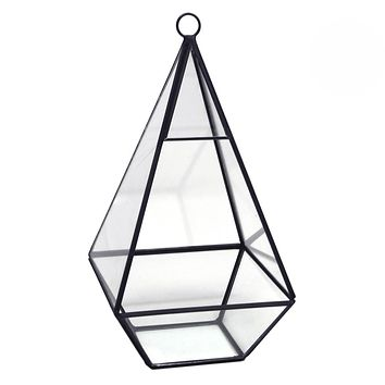 Black Geometric Glass Terrarium Display Box, Teardrop, 9-1/2-Inch