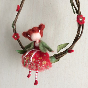 Needle felted  fairy Waldorf inspired fairy  in the red dress Mobile on a twig