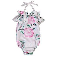 Baby Girls Clothing Newborn Infant Baby Girl Floral Romper Lace Halter Jumpsuit Outfits Sun-suit Clothes