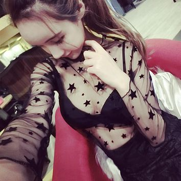 Sexy Mesh Tops harajuku See Through T Shirt Hollow Out Transparent Long Sleeve Undershirt Dot Base Net Tops Club Heart Star