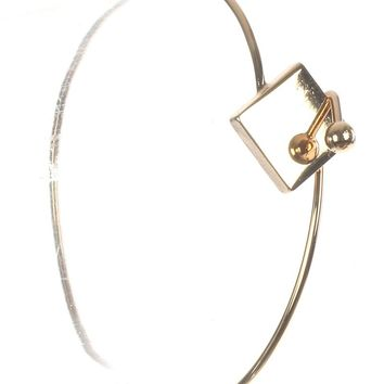 Gold Metal Square Metal Wire Bangle Bracelet