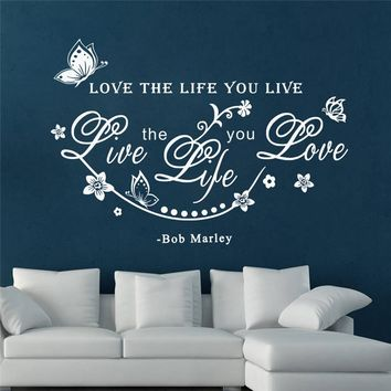 butterfly love the life you live flower vine wall art stickers for living room home decoration diy decals vinyl bob marley