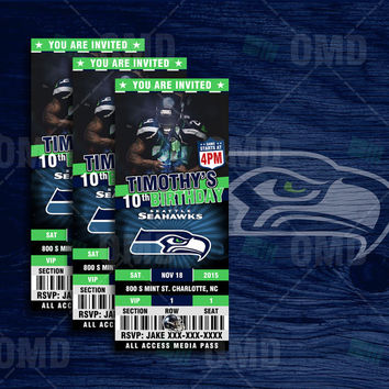 "2.5x6"" Seattle Seahawks Sports Party Invitation, Sports Tickets Invites, Football Birthday Theme Party Template"