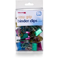 OfficemateOIC Small Easy Grip Metallic Binder Clips, Pack of 24, Assorted Colors (31053)