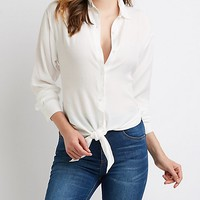 High Low Button Up Top | Charlotte Russe